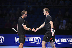 November 17, 2017 - London, England, United Kingdom - Jamie Murray (R) of Great Britain and Bruno Soares of Brazil celebrate victory in the Doubles match against Lukasz Kubot of Poland and Marcelo Melo of Brazil during day six of the Nitto ATP World Tour Finals at O2 Arena on November 17, 2017 in London, England. (Credit Image: © Alberto Pezzali/NurPhoto via ZUMA Press)