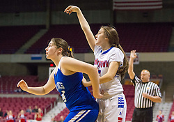 Morgantown forward Brie Giuliani (21) shoots a three pointer against Buckhannon Upshur during a first round game at the Charleston Civic Center.