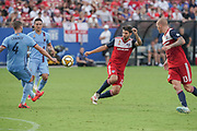 FC Dallas midfielder Ryan Hollingshead (12) blocks a pass from NYCFC defender Maxime Chanot (4) while Zdenek Ondrasek of NYCFC (13) and Tony Rocha (15) of FC Dallas follow the play during a MLS soccer game, Sunday, Sept. 22, 2019, in Frisco, Tex. FC Dallas and New York FC draw 1-1 (Wayne Gooden/Image of Sport)