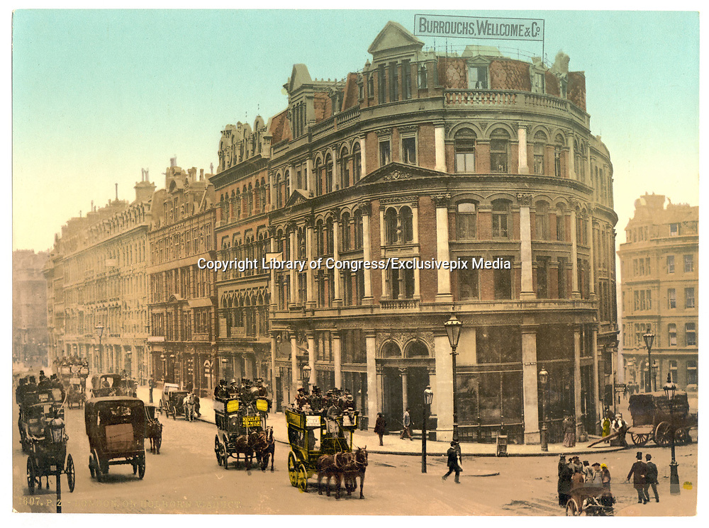 Stunning Old photochrome prints turn back the clock in London <br /> <br /> colourised postcards from the Victorian era,  postcards were made using photochrom - a method of producing colourised photos from negatives<br /> <br /> Photo shows: Holborn Viaduct, London, England, England, between 1890 and 1900<br /> ©Library of Congress/Exclusivepix Media