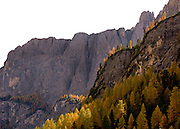 Autumn glow in Alta Badia in the Italian Dolomites.
