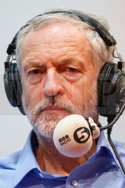 © Licensed to London News Pictures. 25/08/2015. Stevenage, UK. Labour Party leader candidate Jeremy Corbyn taking part at a husting for Radio 5 at Stevenage Arts & Leisure Centre in Stevenage on Tuesday, 25 August 2015. Photo credit: Tolga Akmen/LNP