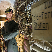 Mannequin dressed with Imperial German Army uniform in a reconstructed WWI German trench at the the Somme Trench Museum in Albert (‪Musée Somme 1916‬)The museum is in the old crypts under the basilica of Albert and shows scenes of trench life from WWI, original uniforms, war paraphernalia  and other items rescued from the fields.
