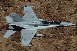 McDonnell Douglas F/A-18D Hornet (XE-444) from the United States Navy / United States Marines VX-9 Vampires squadron Naval Air Weapons Station China Lake, flies low level through the Jedi Transition, Star Wars Canyon, Death Valley National Park, California, United States of America