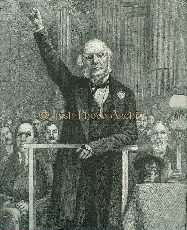 William Ewart Gladstone (Liberal) campaigning in Edinburgh during the 1892 election caused by the fall of Lord Salisbury's Conservative government. Gladstone won the election and became Prime Minister for the fourth and last time.  From 'The Illustrated London News', 9 July 1892.