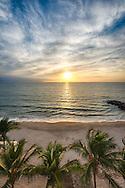 The sun sets off the coast of Puerto Vallarta, Mexico on February 25, 2013.