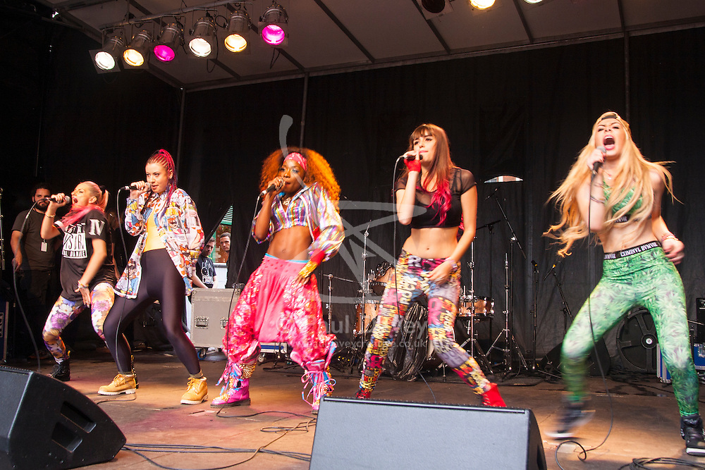 London, June 28th 2014.Pop group CXV24 perform as thousands of London's LGBT community and their supporters throw a vast party in Soho.
