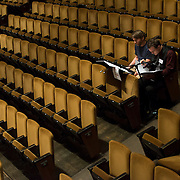 June 3, 2014 - New York, NY : Composer Andrew McManus, right, works with mentor composer Steven Mackey during a rehearsal of McManus's composition by the New York Philharmonic at Avery Fisher Hall on Tuesday. Three works by little-known composers, such as McManus, will be selected for inclusion in the New York Philharmonic's Biennial. CREDIT: Karsten Moran for The New York Times