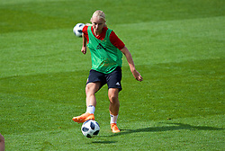 NEWPORT, WALES - Thursday, August 30, 2018: Wales' Elise Hughes during a training session at Rodney Parade ahead of the final FIFA Women's World Cup 2019 Qualifying Round Group 1 match against England. (Pic by David Rawcliffe/Propaganda)