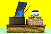 various things in a woven basket
