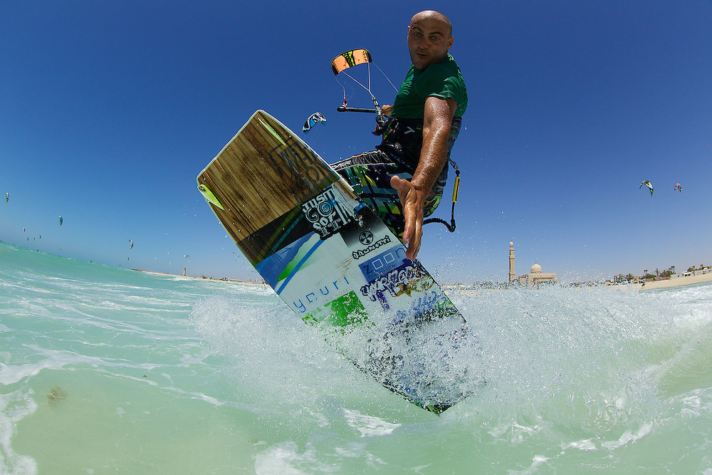 Naim Chidiac working Kite Beach, Dubai, United Arab Emirates.