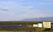 Solar panels provide power to Tombstone High School, Tombstone, Arizona, USA.