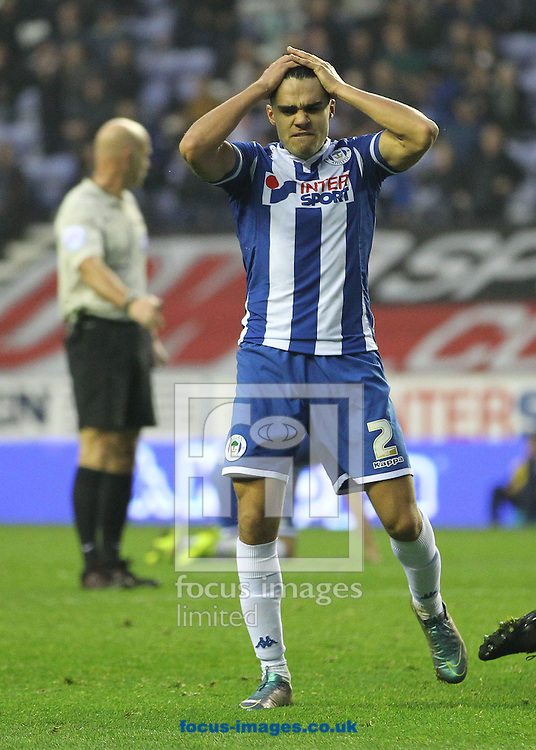 Reece James of Wigan Athletic shows his frustration after his goal ward bound shot was blocked against Swindon Town during the Sky Bet League 1 match at the DW Stadium, Wigan.<br /> Picture by Michael Sedgwick/Focus Images Ltd +44 7900 363072<br /> 31/10/2015