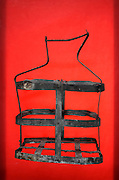 old vintage strip metal bottle carry rack basket
