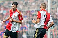 ROTTERDAM - Eerste training van Feyenoord , voetbal , seizoen 2015-2016 , Stadion De Kuip , 28-06-2015 , Speler van Feyenoord Marko Vejinovic (l) aanwinst samen met Speler van Feyenoord Sven van Beek (r)