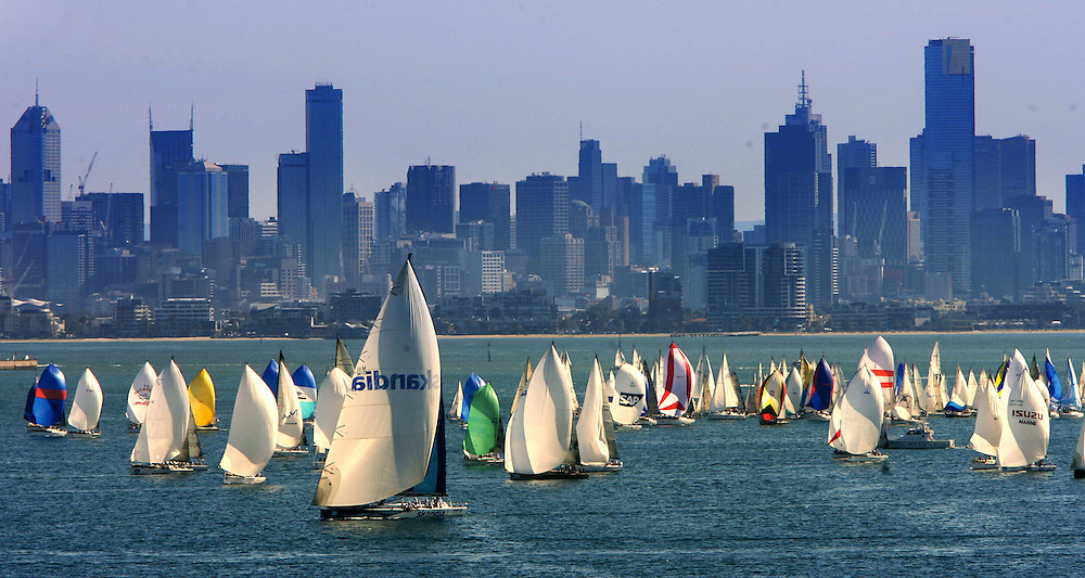 Skandia yacht race gets under way on Port Phillip Bay off Williamstown  Pic By Craig Sillitoe  26/01/2008 SPECIALX 000..yachts, skyline melbourne photographers, commercial photographers, industrial photographers, corporate photographer, architectural photographers, This photograph can be used for non commercial uses with attribution. Credit: Craig Sillitoe Photography / http://www.csillitoe.com<br />