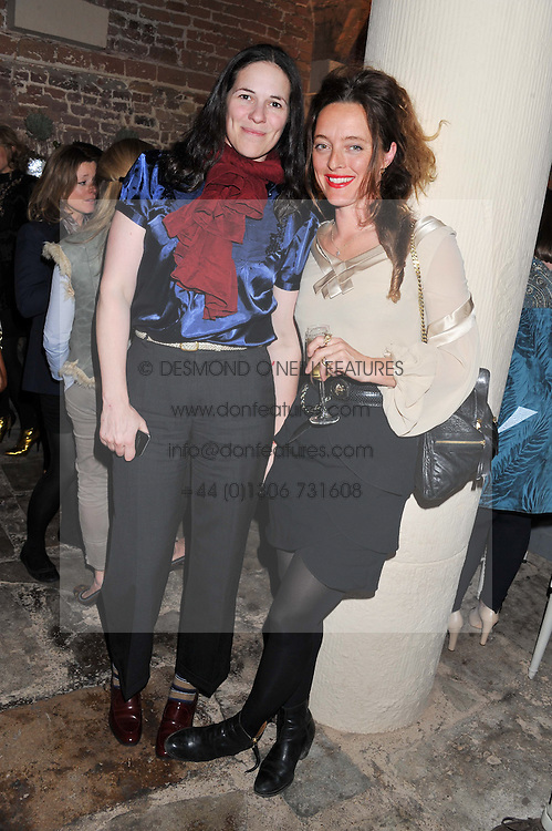 Left to right, CLAIRE JAMES and ALICE TEMPERLEY at an evening of cheesey culinary delights & champagne hosted by Alex James, Yasmin Mills and Elaine Foran held at Aubaine, 31 Dover Street, London on 20th March 2012.