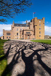 Exterior of Castle of May in Caithness on the North Coast 500 tourist motoring route in northern Scotland, UK
