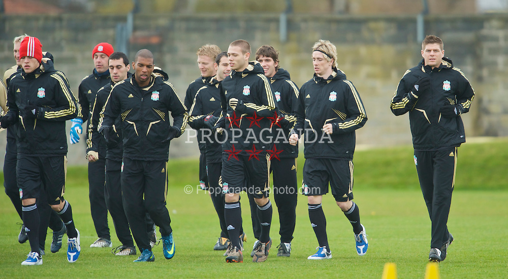 LIVERPOOL, ENGLAND - Monday, March 9, 2009: Liverpool's players training at Melwood ahead of the UEFA Champions League First Knockout Round 2nd Leg match against Real Madrid. L-R: Martin Skrtel, goalkeeper Pepe Reina, Alvaro Arbeloa, Ryan Babel, Dirk Kuyt, Javier Mascherano, Vincent Lucas Weijl, Emiliano Insua, Fernando Torres and captain Steven Gerrard MBE. (Photo by David Rawcliffe/Propaganda)