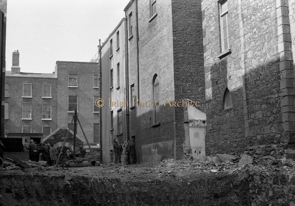 05/04/1978.04/05/1978.5th April 1978.Picture showing the demolition of Dublins' Molesworth Hall. The destruction of the building which was built in 1857 was controversial leading to protests and a sit in.