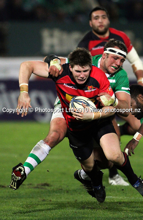 Canterbury's Colin Slade is tackled. ITM Cup. Manawatu v Canterbury, FMG Stadium, Palmerston North, 5 August 2010. Photo: John Cowpland/PHOTOSPORT