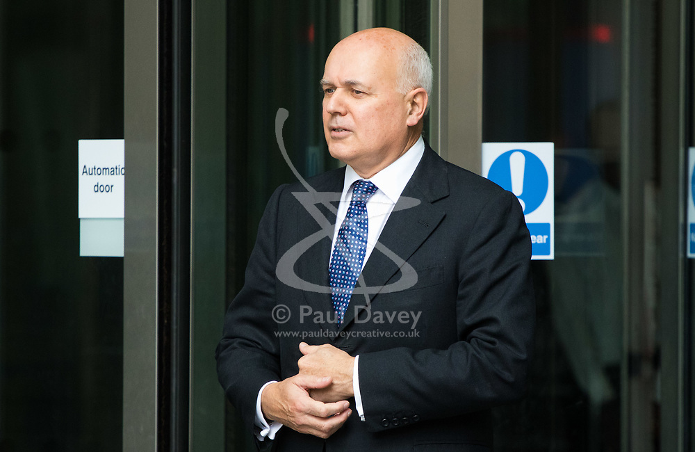 London, July 16th 2017. Former Work and Pensions Secretary Iain Duncan-Smith speaks to the media after attending the BBC's Andrew Marr Show at Broadcasting House in London.
