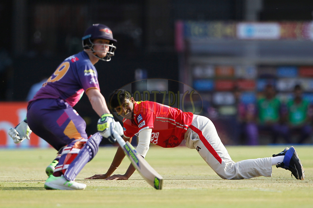 T Natarajan of Kings XI Punjab reacts during match 4 of the Vivo 2017 Indian Premier League between the Kings X1 Punjab and the rising Pune Supergiant held at the Holkar Cricket Stadium in Indore, India on the 8th April 2017<br /> <br /> Photo by Deepak Malik - IPL - Sportzpics