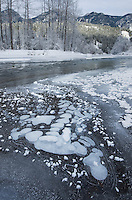 Ice bubbles and frost along the Birkenhead river near Pemberton, Coast Mountains British Columbia