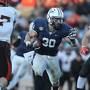 Yale running back Tyler Varga in action during the Yale Vs Princeton, Ivy League College Football match at Yale Bowl, New Haven, Connecticut, USA. 15th November 2014. Photo Tim Clayton