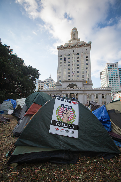 November 12, 2011, Despite evection notices being given on the Occupy Oakland's encampment in Frank Ogawa Plaza across from Oakland's City Hall remains. Occupy Oakland was set up in solidarity with Occupy Wall Street, in New York City