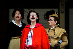 © Licensed to London News Pictures. 23/02/2020. LONDON, UK.  Women in period costume attend an event marking the 200th anniversary of the Cato Street Conspiracy in Marylebone.  On 23 February 1820, 13 plotters were foiled by Bow Street Runners (police of the day) in their attempt to overthrow the government by assassinating Prime Minister Lord Liverpool and his Cabinet ministers.  Photo credit: Stephen Chung/LNP