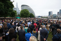 City Hall, London, June 5th 2017.  Heads bowed, thousands of Londoners reflect during a minute's silence at a vigil held at City Hall in remembrance of those killed during the June 3rd terror attack at London Bridge and Borough Market.