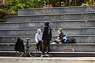 A gang of youth hanging around the skatepark in Vesterbro in Copenhagen