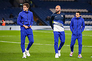 Chelsea players take to the pitch ahead of the Premier League match between Chelsea and Arsenal at Stamford Bridge, London, England on 21 January 2020.