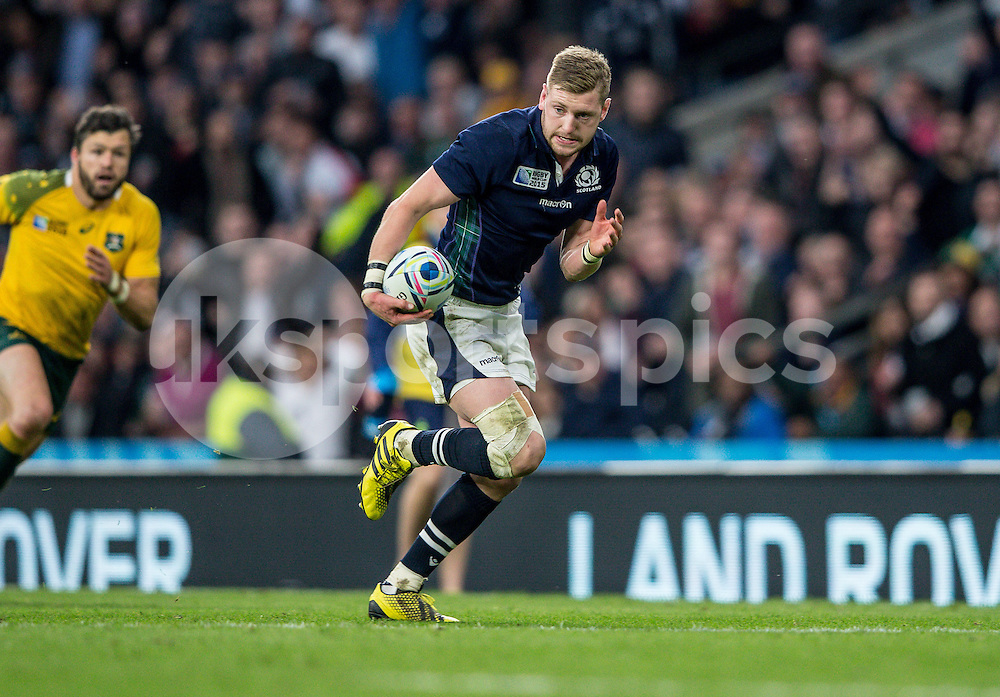 Finn Russell of Scotland charges for the line during the Rugby World Cup Quarter Final match between Australia and Scotland played at Twickenham Stadium, London on the 18th of October 2015. Photo by Liam McAvoy.