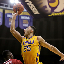 Jan 16, 2016; Baton Rouge, LA, USA; LSU Tigers forward Ben Simmons (25) shoots against the Arkansas Razorbacks during the second half of a game at the Pete Maravich Assembly Center. LSU defeated Arkansas 76-74. Mandatory Credit: Derick E. Hingle-USA TODAY Sports