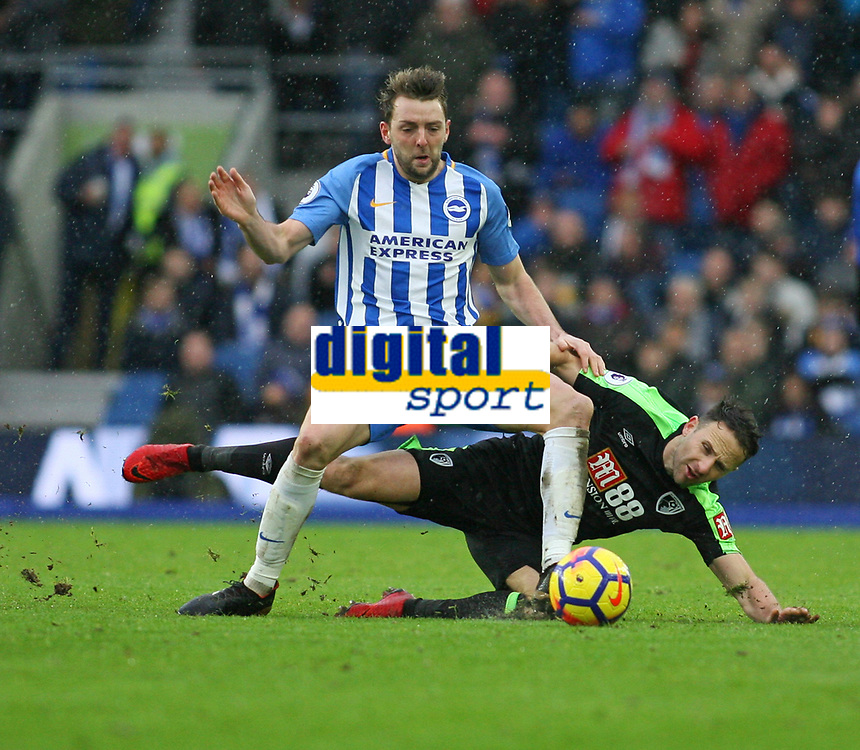 Football - 2017 / 2018 Premier League - Brighton and Hove Albion vs. AFC Bournemouth<br /> <br /> Dale Stevens of Brighton holds off Bournemouth's Marc Pugh at The Amex Stadium Brighton <br /> <br /> COLORSPORT/SHAUN BOGGUST