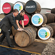Diageo receives its accreditation as a Living Wage employer for it UK operations. Cabinet Secretary for Economy, Jobs &amp; Fair Work, Keith Brown MSP and apprentice Andrew Hunter. The barrel park, Alloa Cooperage, Diageo. 01 Sep 2017. Photo by Tina Norris<br /> Copyright photograph by Tina Norris. Not to be archived or reproduced without prior permission and payment. Contact Tina on 07775 593 830 info@tinanorris.co.uk www.tinanorris.co.uk http://tinanorris.photoshelter.com