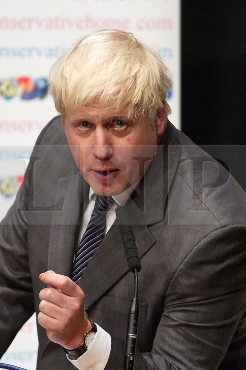 © Licensed to London News Pictures. 08/10/2012. Birmingham , UK . Boris Johnson addresses the Conservative Party Conference at a fringe event . Day 2 of the Conservative Party Conference at the International Convention Centre in Birmingham . Photo credit : Joel Goodman/LNP