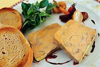 November 2001, Chablis, France --- Original caption: thick slices of foie gras de canard (fattened duck liver) and toast --- Image by © Owen Franken/CORBIS