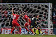 York City defender, on loan from Huddersfield Town, William Boyle  celebrates York City defender Dave Winfield  goal during the Sky Bet League 2 match between York City and Morecambe at Bootham Crescent, York, England on 19 December 2015. Photo by Simon Davies.