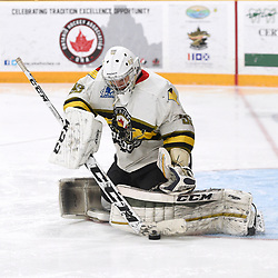"TRENTON, ON  - MAY 5,  2017: Canadian Junior Hockey League, Central Canadian Jr. ""A"" Championship. The Dudley Hewitt Cup. Game 7 between Georgetown Raiders and the Powassan Voodoos. Nate McDonald #33 of the Powassan Voodoos block the shot during the third period.  <br /> (Photo by Andy Corneau / OJHL Images)"