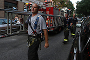 Atmosphere at the Scaffling Collapse in Brooklyn leaving two injured and one dead in the Park Slope section of Brooklyn, New York on August 18, 2009..Workers finishing construction on The Ansonia Court Properties were drop approxiamately four-stories after riggings gave way and lead to the death of unknown worker and injuring two other workers in the Park Slope section of Brooklyn