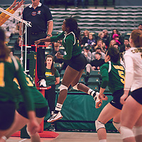4th year outside hitter, Diana Lumbala (9) of the Regina Cougars during the Women's Volleyball home game on Sat Jan 19 at Centre for Kinesiology, Health & Sport. Credit: Arthur Ward/Arthur Images