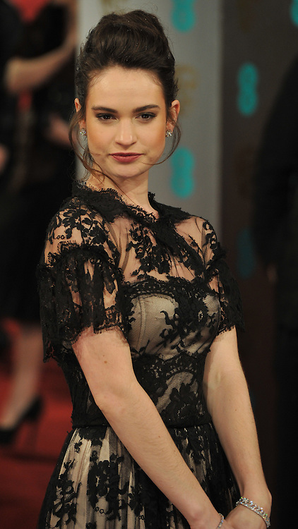 Lily James during The British Academy Film Awards, The Royal Opera House, Bow Street, Covent Garden, London, WC2, Sunday February 10, 2013. Photo by Andrew Parsons / i-Images. ..