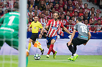 Atletico de Madrid's Juanfran Torres and Malaga's Federico Ricca and Roberto Jimenez during La Liga match between Atletico de Madrid and Malaga CF at Wanda Metropolitano in Madrid, Spain September 16, 2017. (ALTERPHOTOS/Borja B.Hojas)