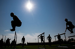 Robert Kranjec and Peter Prevc during fitness training of Slovenian Ski jumping National A team, on May 6, 2016, in Stadium Kranj, Slovenia.Photo by Vid Ponikvar / Sportida