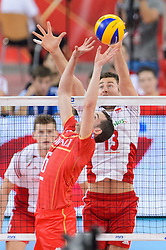 14.09.2014, Luczniczka Hall, Bydgoszcz, POL, FIVB WM, Polen vs Frankreich, 2. Runde, Gruppe E, im Bild Benjamin Toniutti, Michal Kubiak // during the FIVB Volleyball Men's World Championships 2nd Round Pool F Match beween Poland and France at the Luczniczka Hall in Bydgoszcz, Poland on 2014/09/14. EXPA Pictures © 2014, PhotoCredit: EXPA/ Newspix/ Mariusz Palczynski<br /> <br /> *****ATTENTION - for AUT, SLO, CRO, SRB, BIH, MAZ, TUR, SUI, SWE only*****