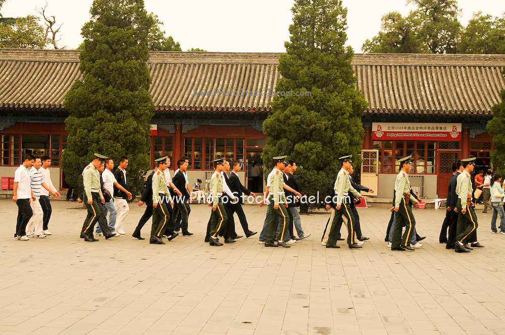 China, Beijing, The Forbidden City August 2008 Soldiers on parade