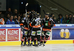 06.12.2015, Eisstadion Liebenau, Graz, AUT, EBEL, Moser Medical Graz 99ers vs EC VSV, 28. Runde, im Bild Jubel bei Ales Kranjc (Moser Medical Graz 99ers), Stephen Werner (Moser Medical Graz 99ers) und Corin Konradsheim (Moser Medical Graz 99ers) // during the Erste Bank Icehockey League 28th Round match between Moser Medical Graz 99ers and EC VSV at the Ice Stadium Liebenau, Graz, Austria on 2015/12/06, EXPA Pictures © 2015, PhotoCredit: EXPA/ Erwin Scheriau